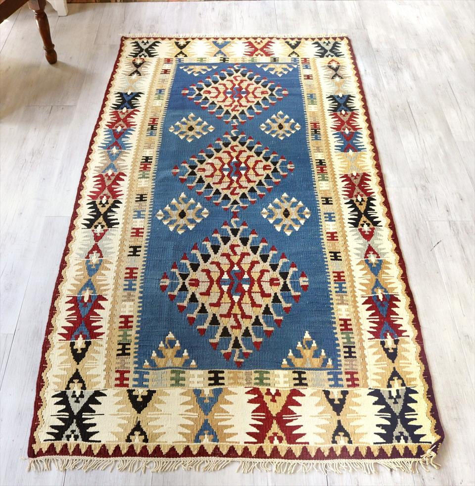 カイセリキリム/トルコ手織りラグ ウール220×115cmリビングサイズ ドラゴンのモチーフ