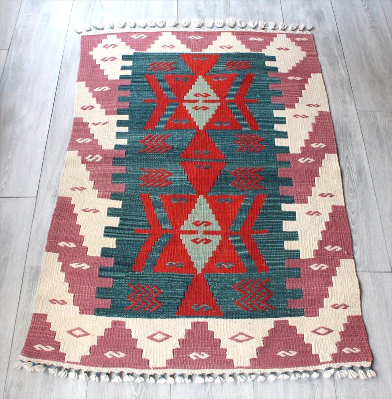 手織りのスタンダード トルコ・カイセリキリム/122×77cmチェイレキ2つのイーブルアイのメダリオン