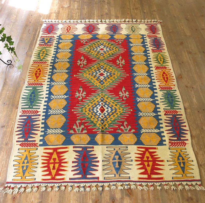 トルコキリム・細かい織りのカイセリキリム・セッヂャーデ・165×122cmドラゴンモチーフ麦の穂のジジム レッド・マスタード 手織り・ウール100%