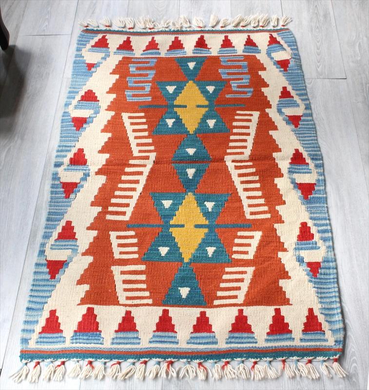 手織りのスタンダードカイセリキリム/122×77cmチェイレキ2つのイーブルアイのメダリオン