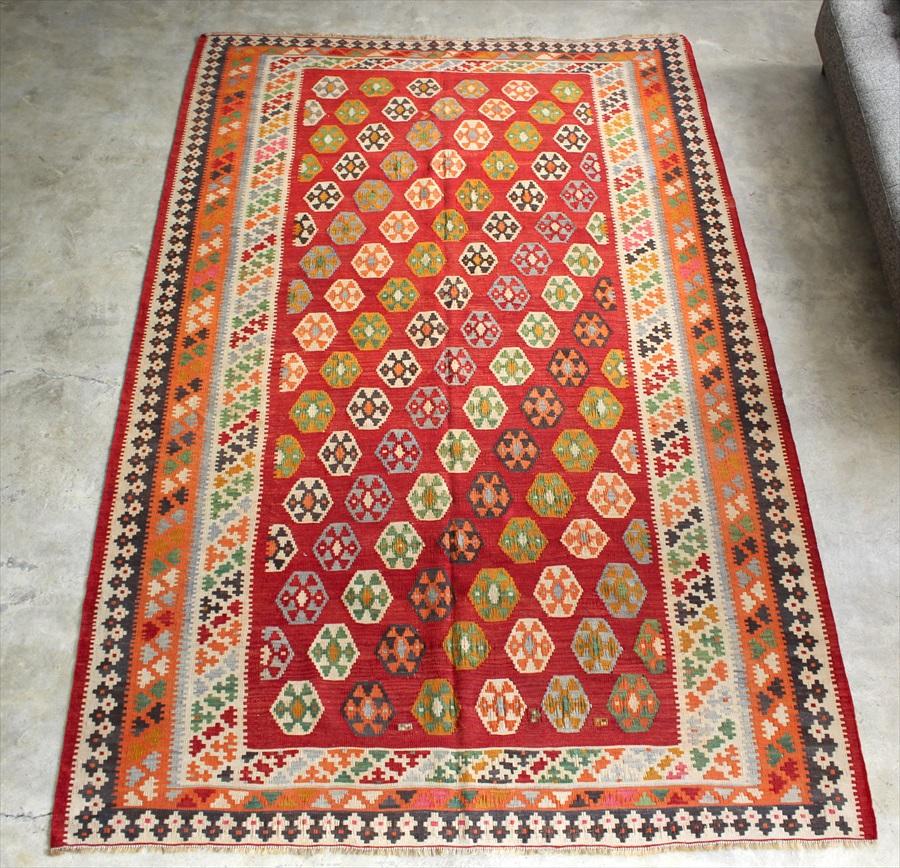 オールドキリム・カシュカイ族 遊牧民の手織りキリム Qashkai tribe Flat weaven kilim270×175cmレッド 小さな六角形の並ぶ伝統柄