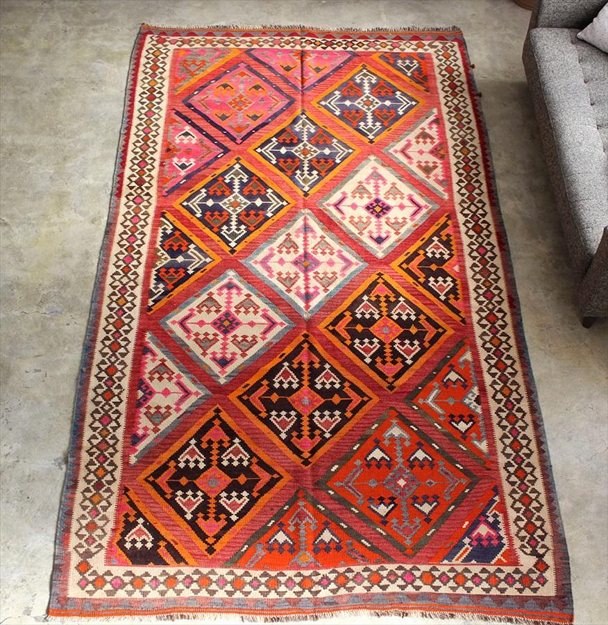 遊牧民の手織りキリム オールドキリム・カシュカイ族 Qashkai tribe Flat weaven kilim280×153cm豊穣を願うサソリのモチーフ