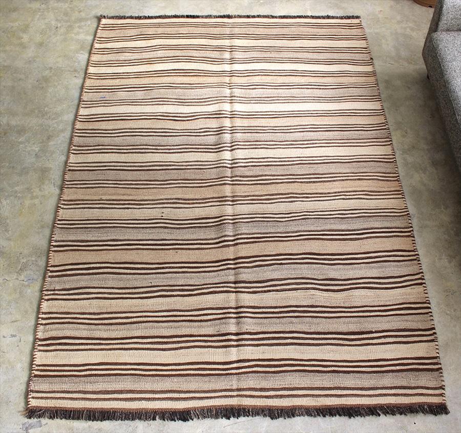 遊牧民の手織りキリム オールドキリム・カシュカイ族 Qashkai tribe Flat weaven kilim230×159cmナチュラルグレー ストライプ