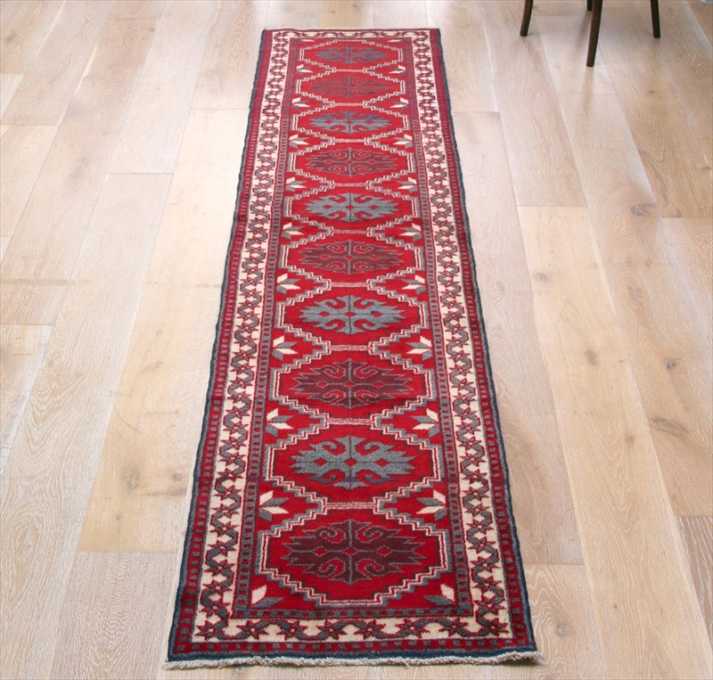 トルコ手織り絨毯・エリアラグ カーペットランナー277×62cmヤージベディル・10の六角モチーフ