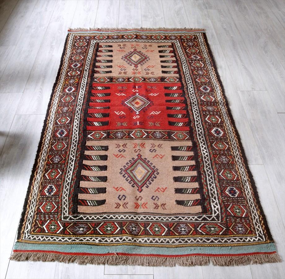 東イランの素朴な手織りキリム・グチャン/セッヂャーデ195×103cmレッド・ライトブラウン