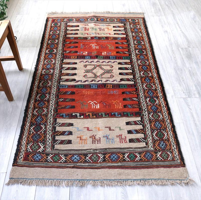 東イランの素朴な手織りキリム・グチャン/セッヂャーデ189×109cmレンガ色・ベージュ