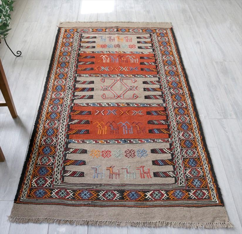 東イランの素朴な手織りキリム・グチャン/セッヂャーデ190×102cmオレンジ・ベージュ