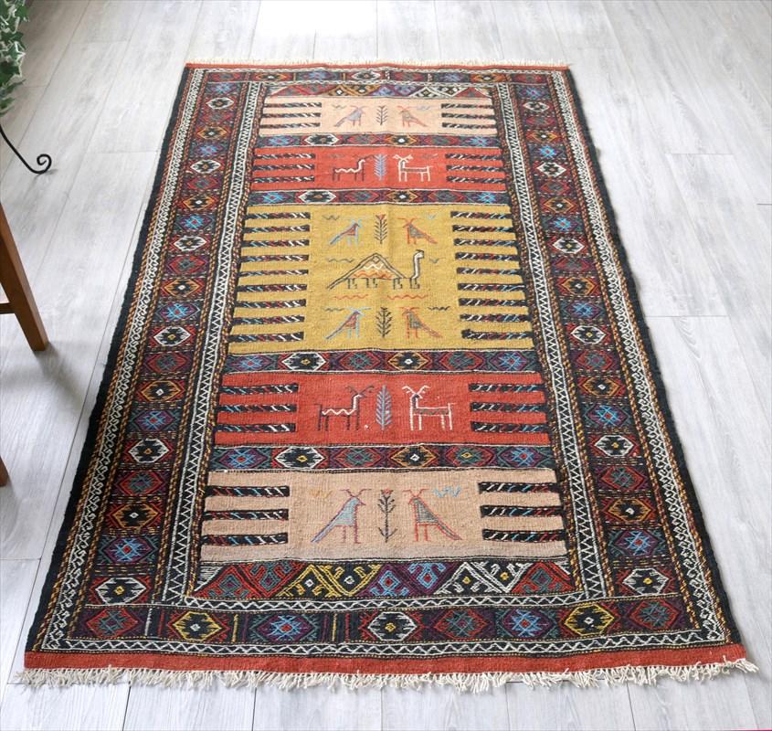 東イランの素朴な手織りキリム・グチャン/セッヂャーデ188×109cmレンガ色&マスタード・ベージュ