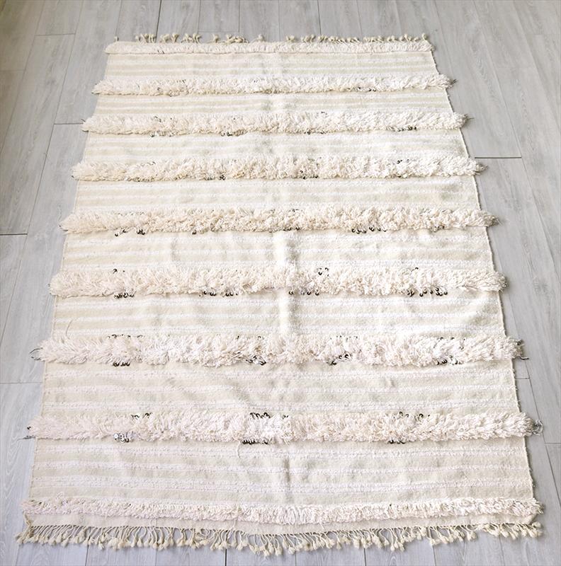 モロッコ・ウエディング用のブランケットキリム Moroccan Wedding Blankets221×148cmホワイト・ベッドスロー