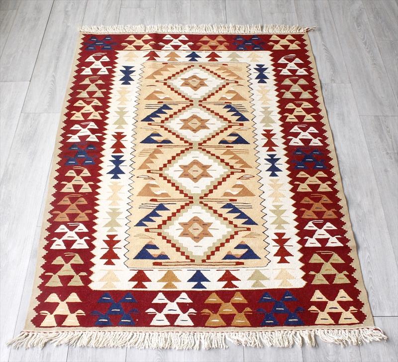 トルコキリム・ウシャクUsak 手織りウール100%/セッヂャーデ・167×115cmセンターラグサイズ アースカラー