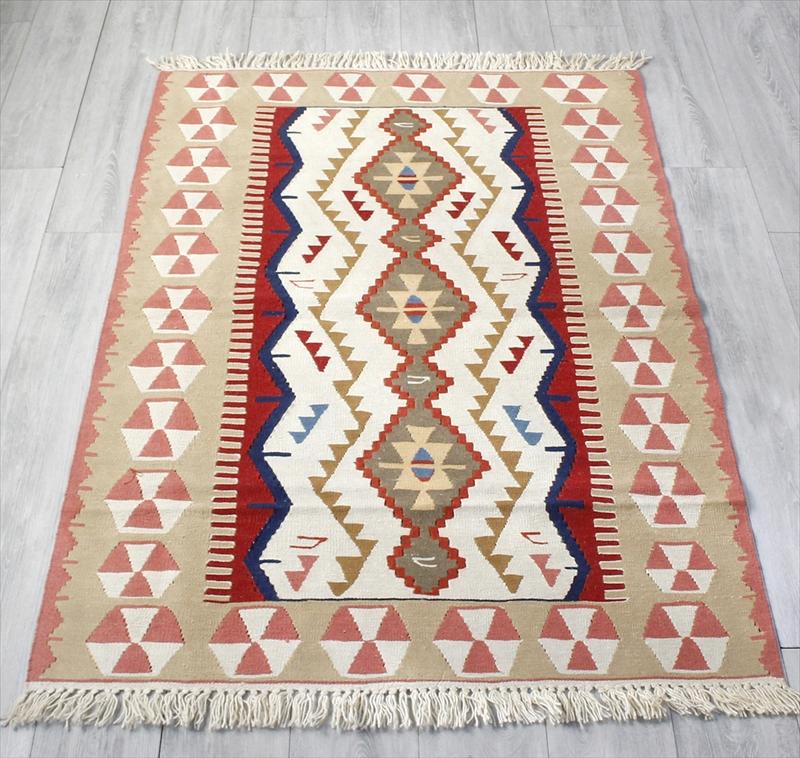 トルコキリム・ウシャクUsak 手織りウール100%/セッヂャーデ・180×120cmセンターラグサイズ アースカラー