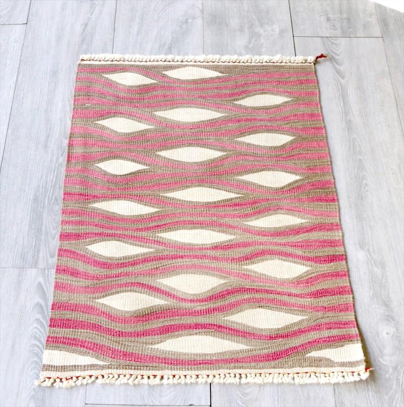 最高級の細かな手織りトルコキリム/コンヤ草木染キリム・スーパーファイン68×49cm抽象的な波のデザイン