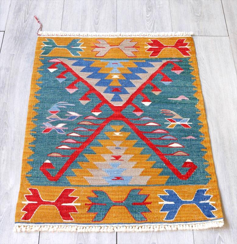 最高級の細かな手織りトルコキリム/コンヤ草木染キリム・スーパーファイン71×51cmジグザグのドラゴンモチーフ