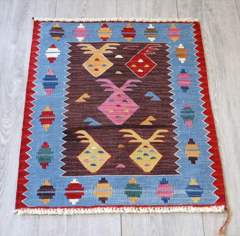 最高級の細かな手織りトルコキリム/コンヤ草木染キリム・スーパーファイン70×49cmあずき色と水色のコンビネーション