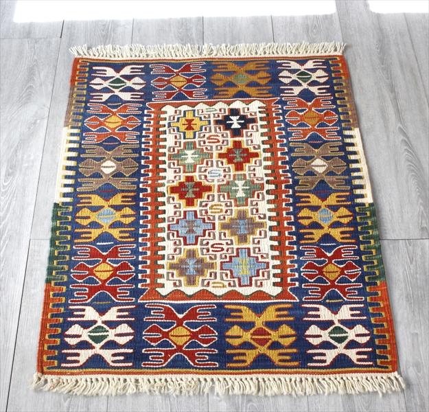 Turkish Kilim 手織りの草木染キリム・コンヤ85×69cmヌズムラ・四角いドラゴンモチーフ