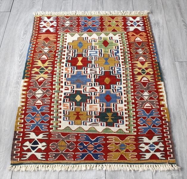 Turkish Kilim 手織りの草木染キリム・コンヤ88×67cmヌズムラ・四角いドラゴンモチーフ
