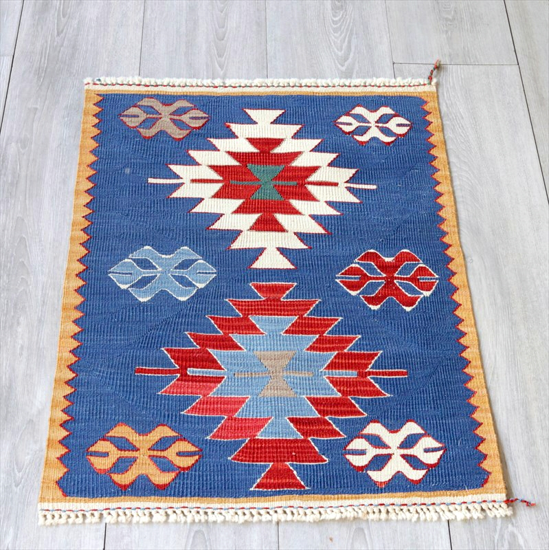 最高級の細かな手織りトルコキリム/コンヤ草木染キリム・スーパーファイン68×50cm2つのジグザグメダリオン