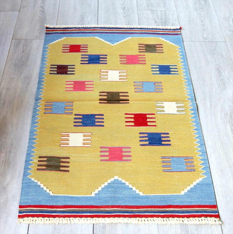 最高級の細かな手織りトルコキリム/コンヤ草木染キリム・スーパーファイン95×59cmカラフルなクシのモチーフ