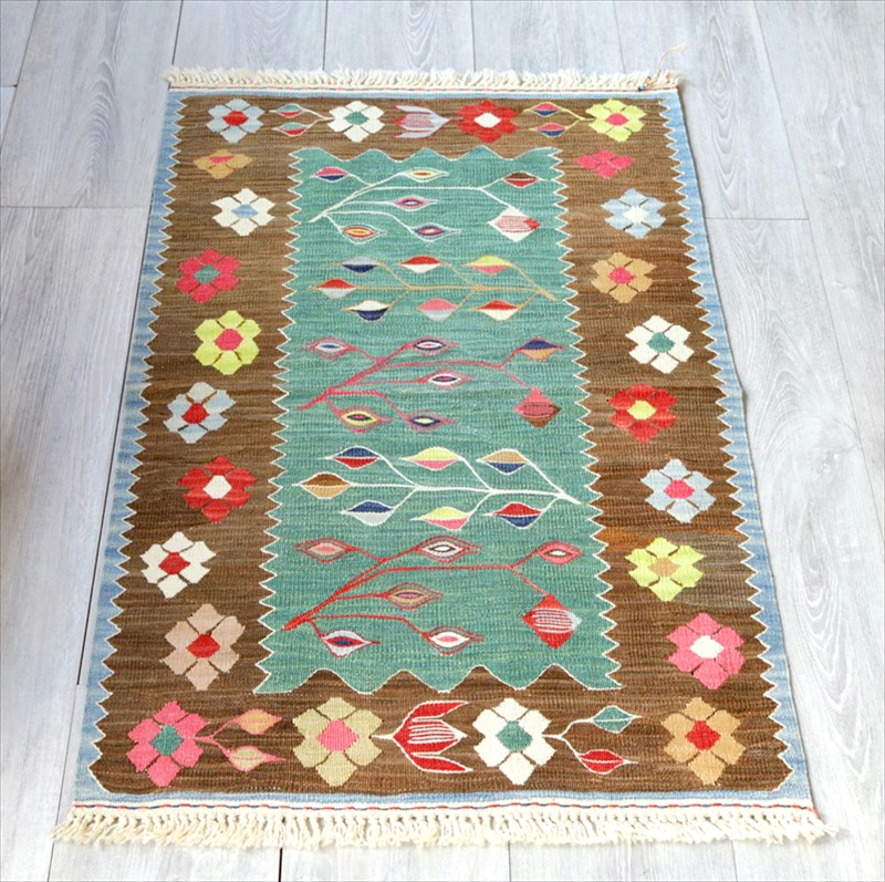 最高級の細かな手織りトルコキリム/コンヤ草木染キリム・スーパーファイン100×61cm麦の穂と花・グリーン&オリーブ