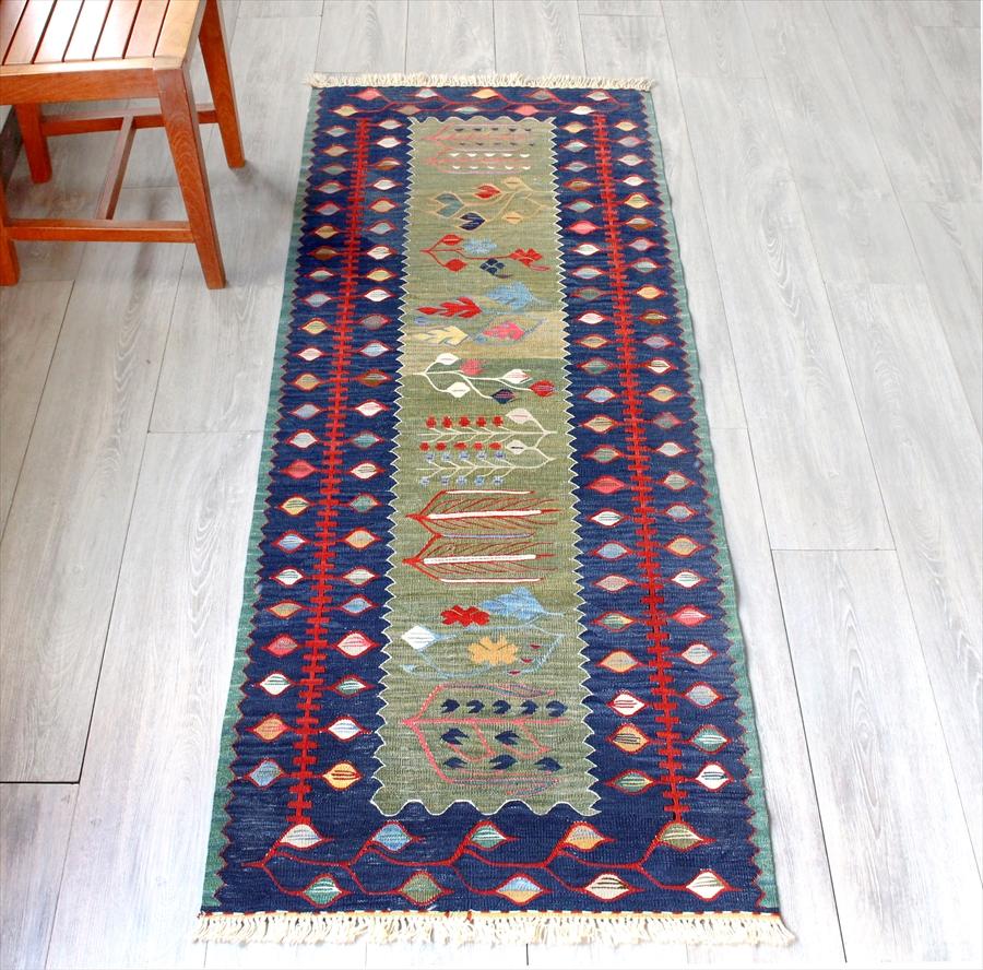 草木染・スーパーファインキリム 最高級の細かな手織りトルコキリム172×68cm麦の穂 グリーン/ネイビー