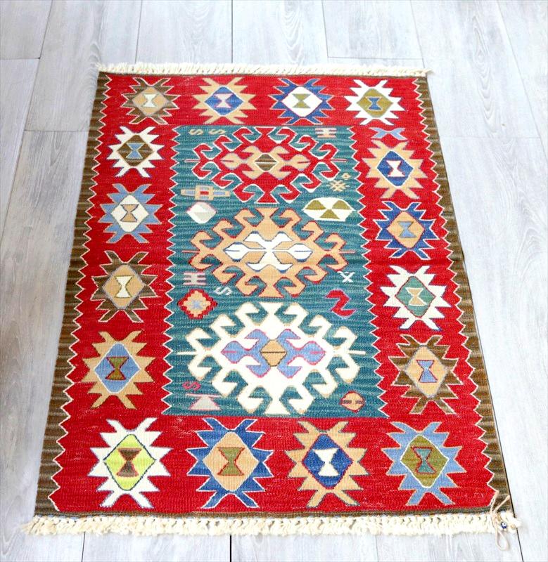 最高級の細かな手織りトルコキリム/コンヤ草木染キリム・スーパーファイン97×62cm3色のドラゴンモチーフ