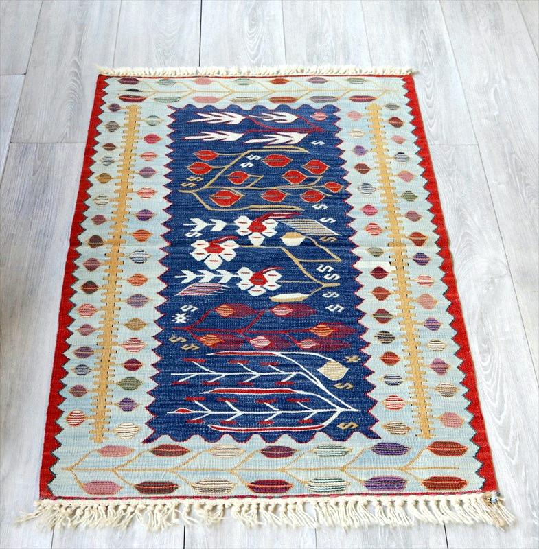 最高級の細かな手織りトルコキリム/コンヤ草木染キリム・スーパーファイン101×67cm麦の穂と花・インディゴ&ペールブルー