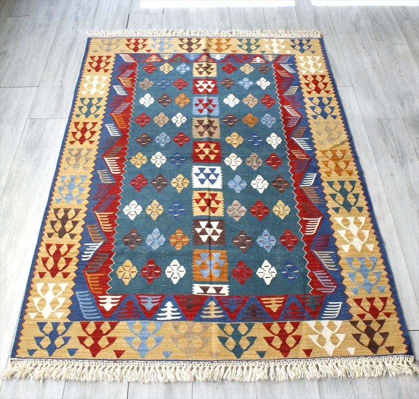 草木染・スーパーファインキリム 最高級の細かな手織りトルコキリム172×123cmセッヂャーデ シャルキョイ地方の花のデザイン