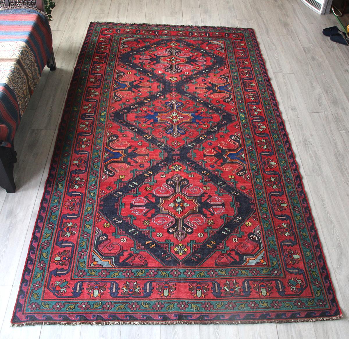 オールドキリム・コーカサス地方のスマック織り298×159cm大型リビングサイズ/3つの花のメダリオン