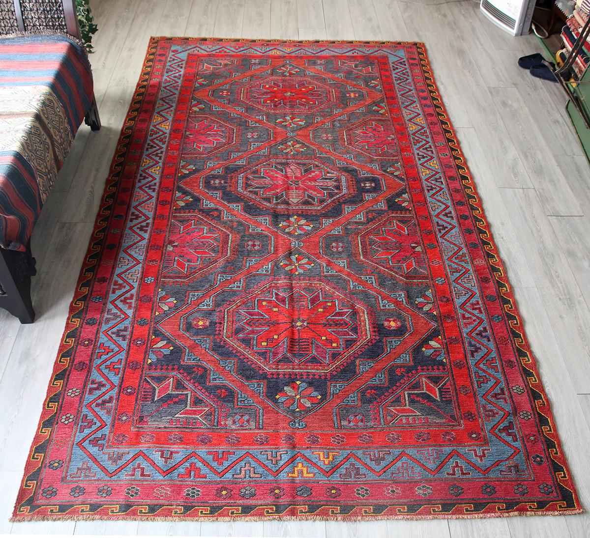 オールドキリム・コーカサス地方のスマック織り320×173cm大型リビングサイズ/3つの花のメダリオン