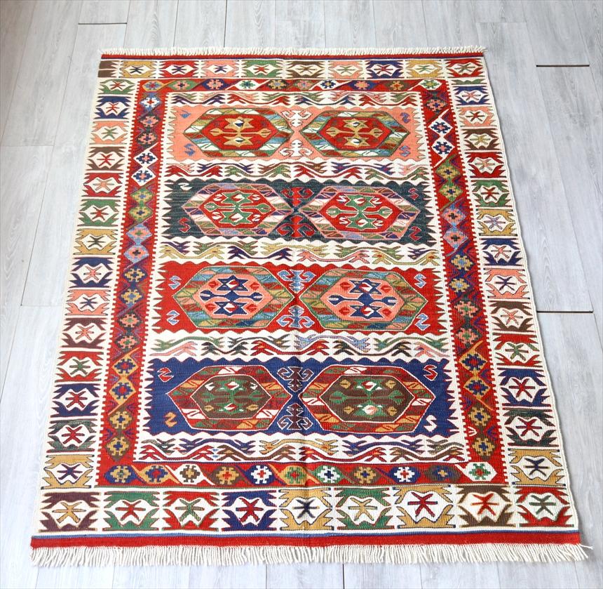 トルコ手織りキリム・コンヤ草木染 セッヂャーデ172×139cmチュムラ ソロモンの星のある六角形
