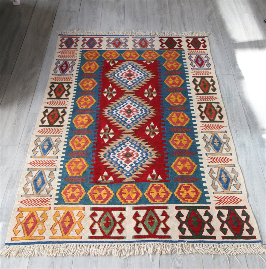 カイセリキリム・セッヂャーデ ウール100%トルコ手織りキリム170×112cm細かなドラゴンモチーフ・麦の穂のじじむ