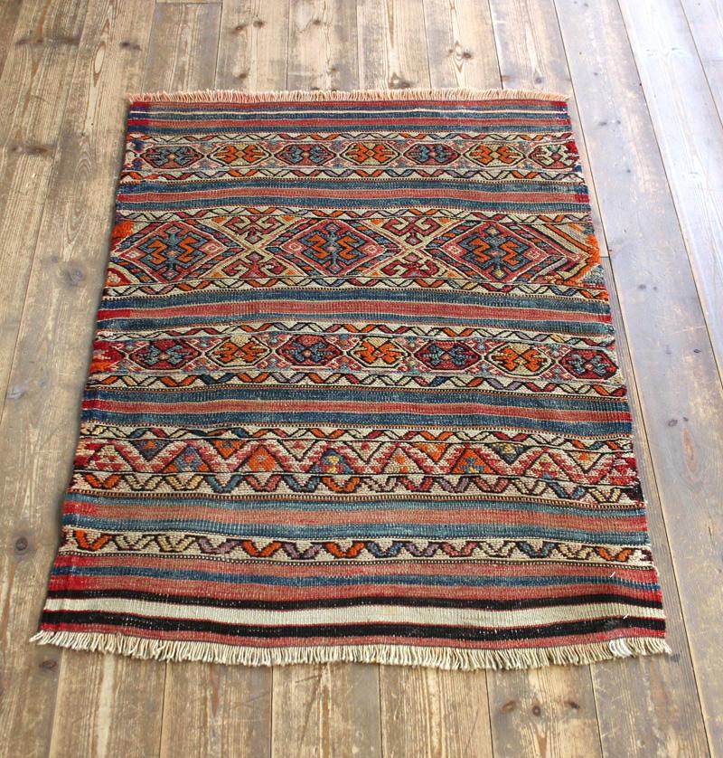 オールドキリム・フェティエ/チュアル90×67cm細かなスマック織りとストライプ