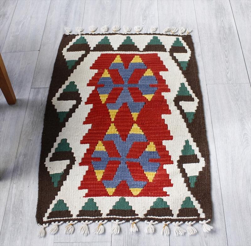 手織りカイセリキリム・ヤストゥクサイズ89×62cm狼の口のモチーフ レッド/ダークブラウン