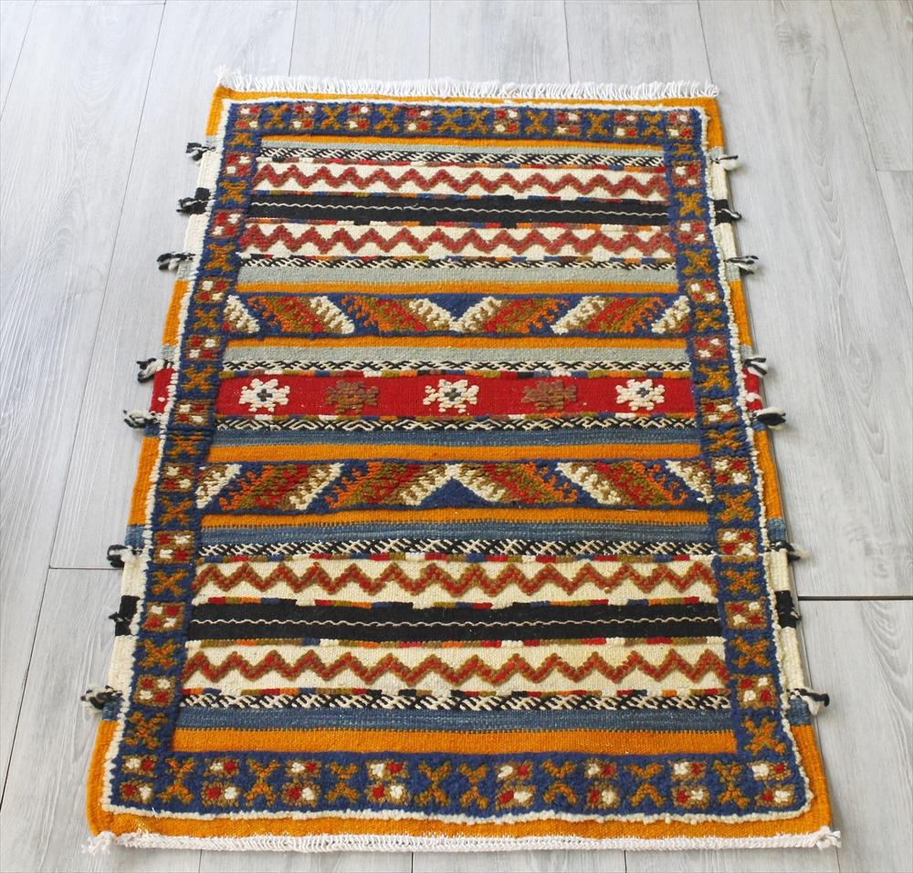 モロッコキリム・グラーウィ/ヤストゥクサイズ103×65cm凹凸のあるパイル織りミックス