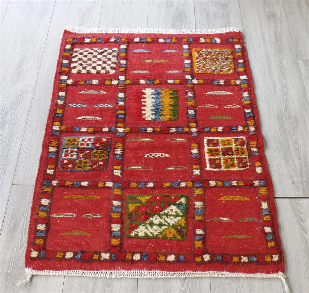 モロッコキリム・タズナフト/ヤストゥクサイズ101×68cm凹凸のあるパイル織りミックス