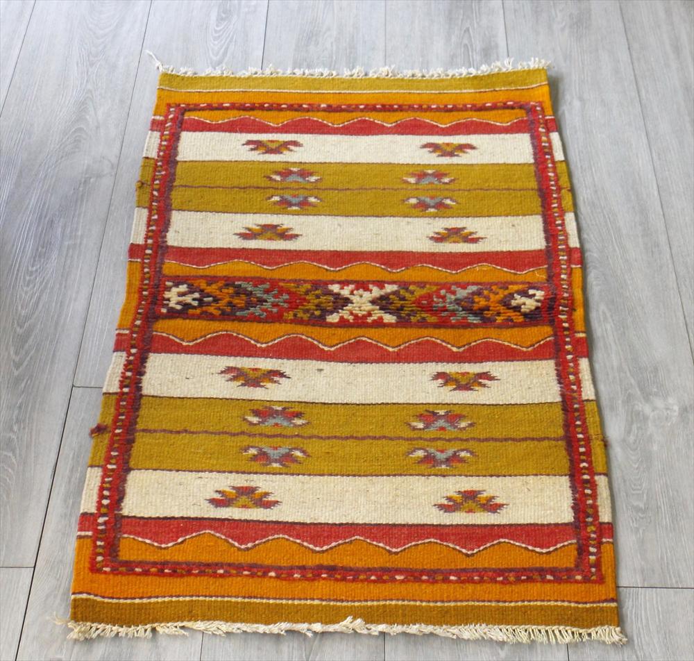 モロッコキリム・タズナフト/ヤストゥクサイズ94×59cm凹凸のあるパイル織りミックス OUTLET・サービス品