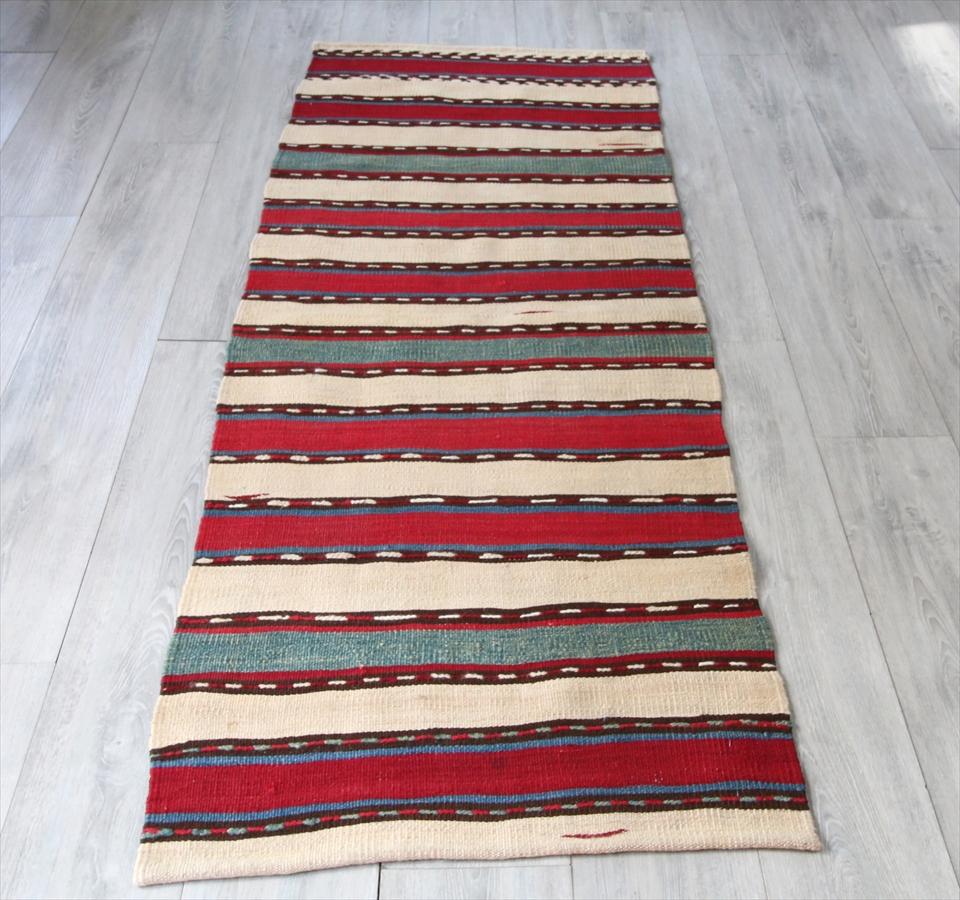 草木染のカシュカイ族の手織りキリム/ランナー185×70cmレッド&グリーン・アイボリーのストライプ