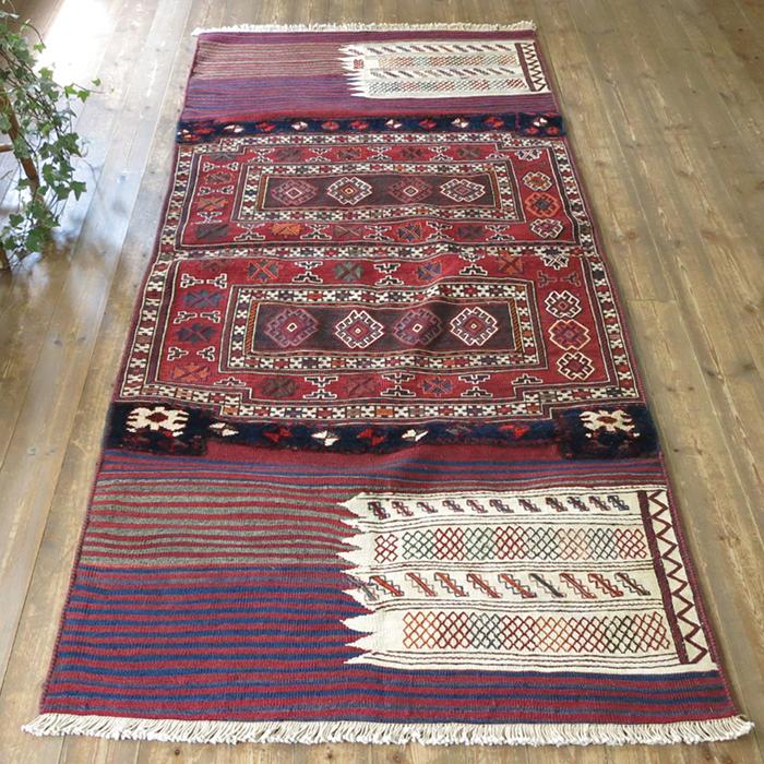 オールドキリム・バクティアリ族のキャメルバッグ226×104cm鮮やかなスマック コットンのじゅうたん