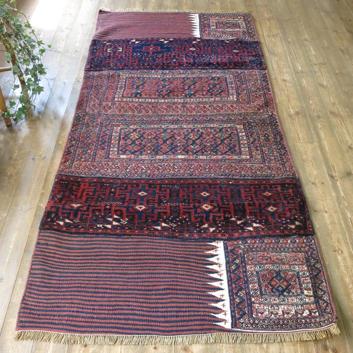 オールドキリム・バクティアリ族のキャメルバッグ235×107cm細かなスマック織り ネイビー&レッド