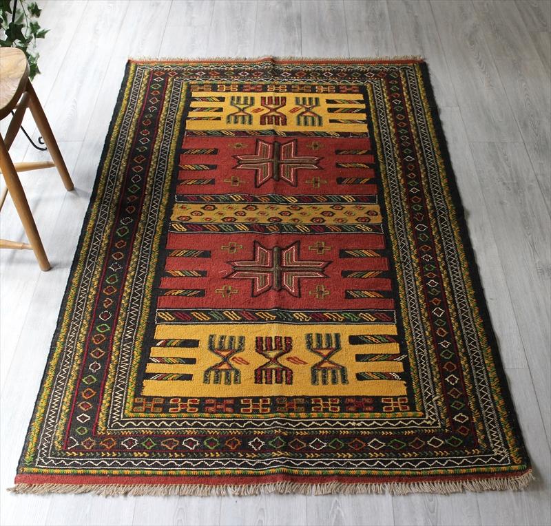 グチャンキリム・東イランの素朴な手織りキリム187×114cmセッヂャーデ/レッド・マスタード