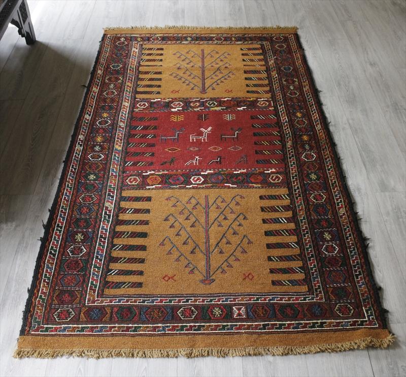 グチャンキリム・東イランの素朴な手織りキリム196×108cmセッヂャーデ/レッド・ライトブラウン