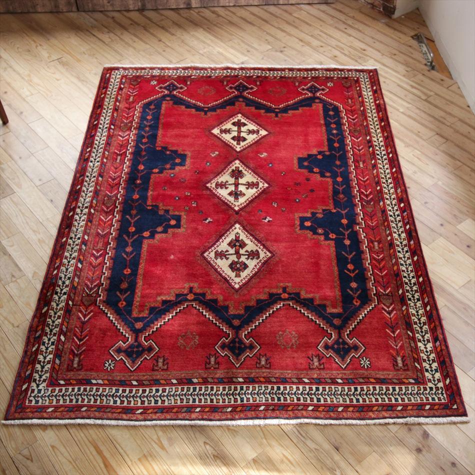 遊牧民の手織りじゅうたん/オールドカーペット・シルジャン235×167cmレッド&ネイビー・3つの王冠のようなデザイン