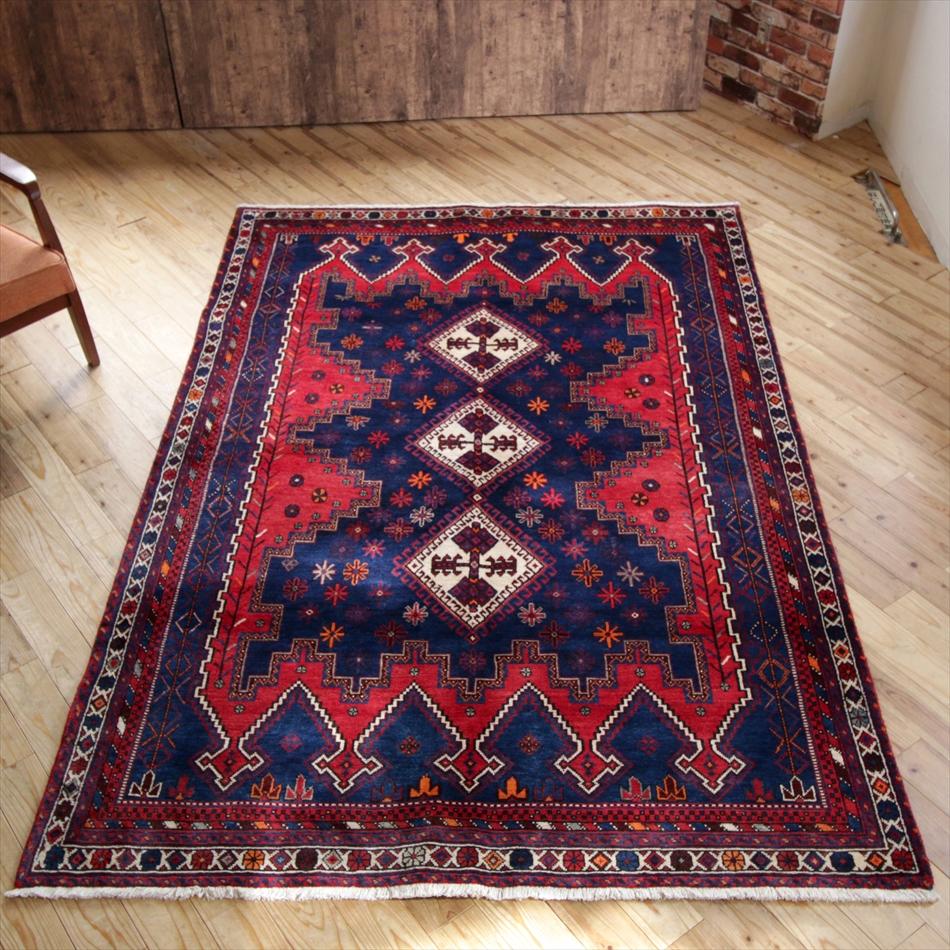 遊牧民の手織りじゅうたん/オールドカーペット・シルジャン234×160cmコバルトブルー&レッド 5つの王冠のようなデザイン