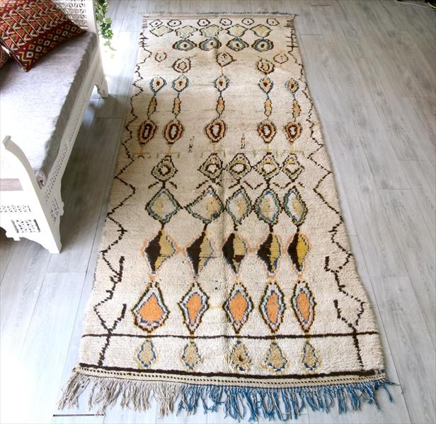 Morroco Berber Rug Azilal アズィラル モロッコ・ベルベル族の手織りラグ335×121cmロングリビングサイズ・ユニークなダイヤモチーフ