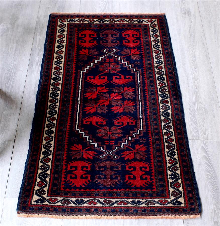 トルコ絨毯・アナトリアのオールドカーペット・エリアラグ/ヤストゥク97×56cmヤージベディル/赤と紺の伝統柄 Hand Notted Anatolian Carpet Vintage