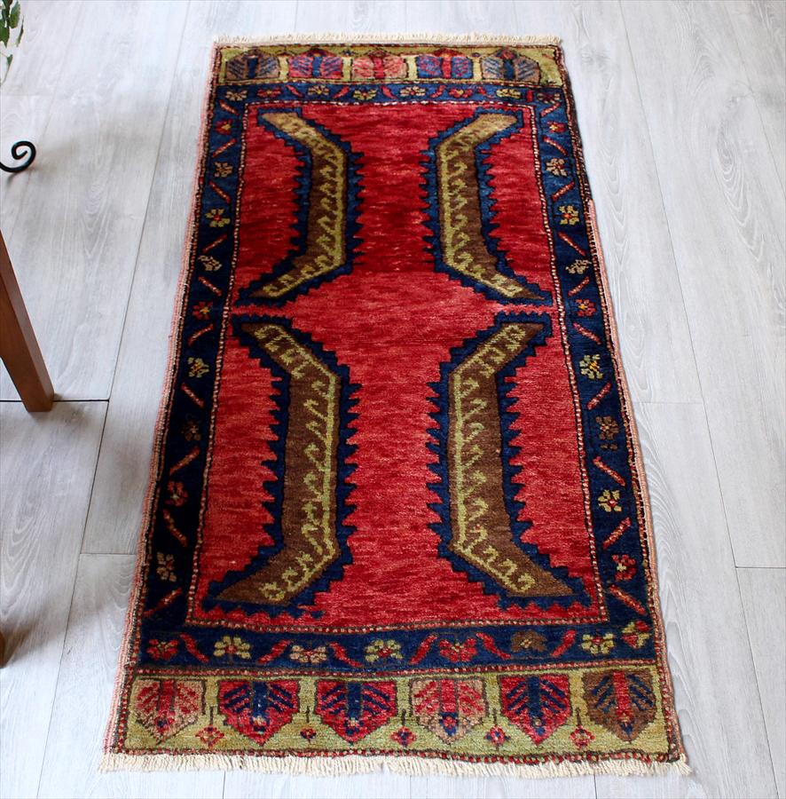 トルコ絨毯・アナトリアのオールドカーペット・エリアラグ/チェイレキサイズ120×58cmコンヤ/ジグザグモチーフ・生命の樹 Hand Notted Anatolian Carpet Vintage