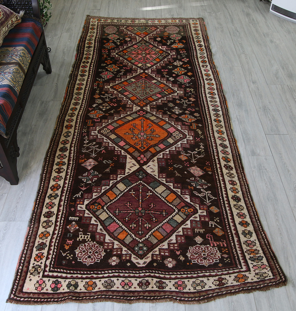 オールドカーペット・トルコ絨毯/エルズルム331×137cmヨルルック・細長いランナーサイズ