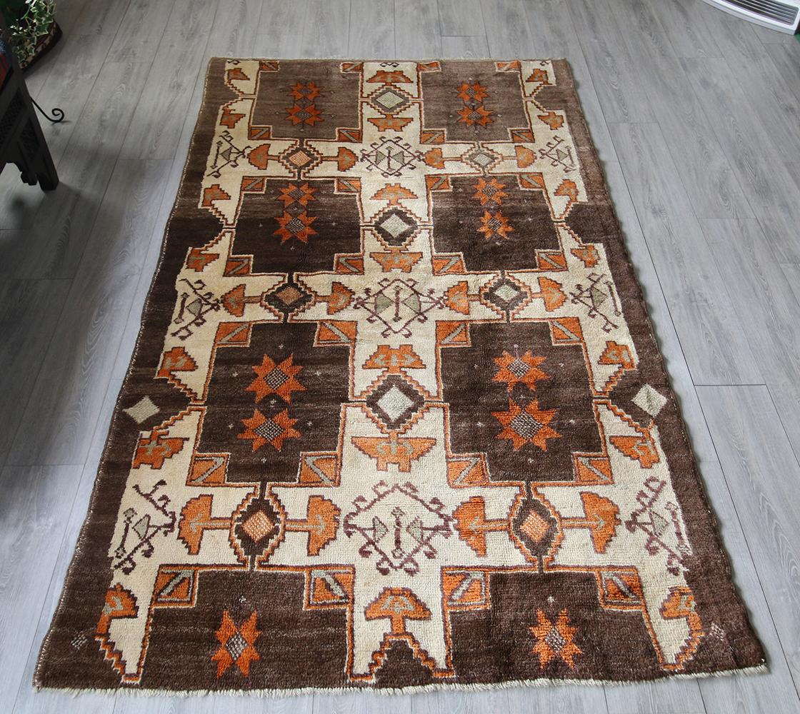 トルコ絨毯・トライバルラグ/オールドカーペット239×137cm