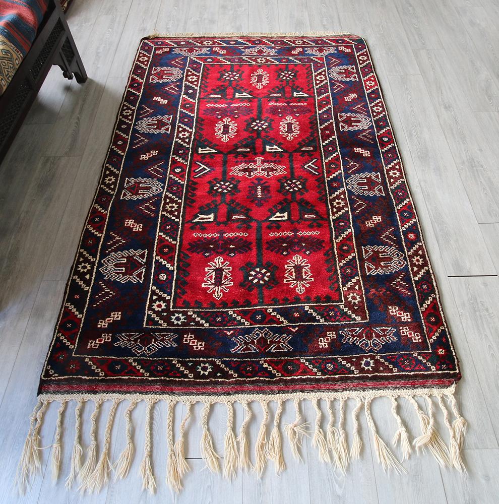トルコ伝統の手織りラグ・ドゥシュメアルトゥ D emealt  /オールドカーペット204×131cmカリヨラサイズ・生命の樹とエリベリンデ