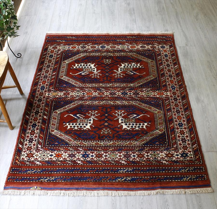 トルコの手織りのじゅうたん・ウール100%の新しいカーペット・ラグ/西アナトリア・アンティーク・リプロダクション171×130cmドラゴンとフェニックスの戦い/Turkish Handweaven Carpet